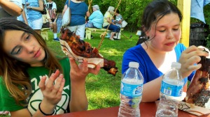 Annie and her bestie, enjoying the giant turkey legs.
