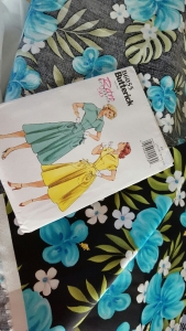 Gertie's Tropical Sateen fabric and Butterick B6055